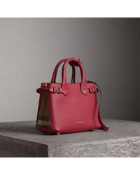 6e9c3bf638a2 Burberry - The Small Banner In Leather And House Check Russet Red - Lyst