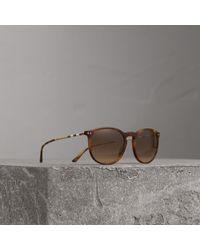 d696c654153 Burberry Check Arm Pilot Sunglasses in Metallic for Men - Lyst