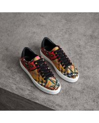 Burberry - Graffiti Print Vintage Check Sneakers - Lyst