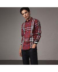 Burberry - Striped Cuff Check Cotton Blend Shirt - Lyst