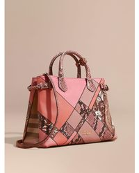 Burberry - The Medium Banner In Patchwork Leather And Python Dusty Pink - Lyst