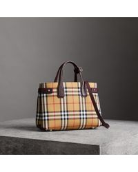 Burberry - The Small Banner In Vintage Check And Leather - Lyst