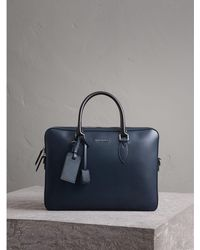 Burberry - London Leather Briefcase In Dark Navy/black - Lyst