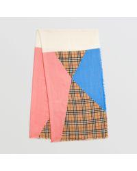 Burberry - Écharpe en laine, soie et cachemire color-block à motif Vintage  check 26111817814