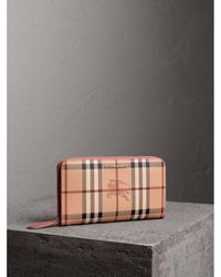 Burberry - Haymarket Check And Leather Ziparound Wallet - Lyst
