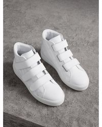 Burberry - Perforated Check Leather High-top Trainers - Lyst