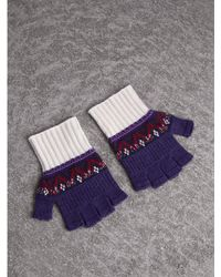 Burberry - Fair Isle Cashmere Fingerless Gloves - Lyst