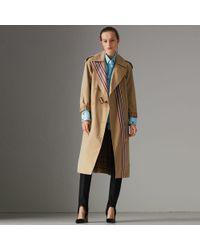 Burberry - Striped Ribbon Cotton Gabardine Trench Coat - Lyst