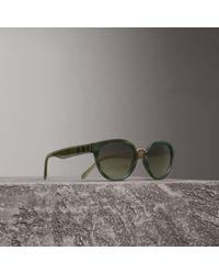 c1645cec42a Burberry - Check Detail Cat-eye Frame Sunglasses In Dark Olive