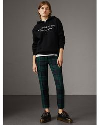 Burberry - Embroidered Hooded Sweatshirt - Lyst