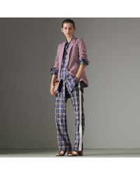 Burberry - Check Cotton Tailored Jacket - Lyst