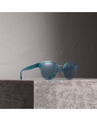 Burberry - Check Detail Round Half-frame Sunglasses - Lyst
