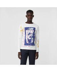 Burberry - Portrait Print Cotton Top - Lyst