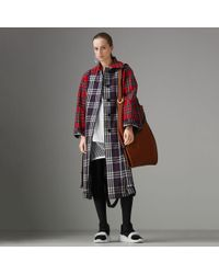 Burberry - Check And Tartan Cotton Trench Coat - Lyst