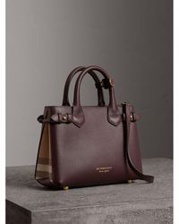 Burberry - The Medium Banner In Leather And House Check Pale Orchid - Lyst