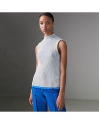 7503829ba9391a Burberry Shearling Trim Ribbed Wool Cashmere Sweater In Navy - Women ...