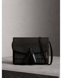 Burberry - Brogue And Fringe Detail Leather Crossbody Bag - Lyst