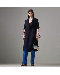 Burberry - Oversized Lapel Wool Gabardine Trench Coat - Lyst