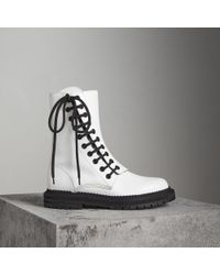 Burberry - Leather Asymmetric Lace-up Boots - Lyst