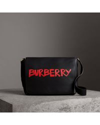 Burberry - Large Graffiti Print Leather Messenger Bag - Lyst