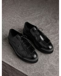 Burberry - Lace-up Kiltie Fringe Leather Shoes - Lyst