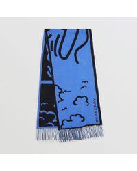 Burberry - London Street Art Wool Cashmere Jacquard Scarf - Lyst