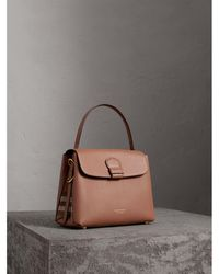 f02b918667d3 Burberry - Medium Grainy Leather And House Check Tote Bag Dark Sand - Lyst