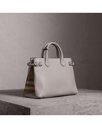 934152c8e521 Burberry - The Medium Banner In Leather And House Check Light Grey Melange  - Lyst