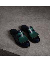 Burberry - Contrast Kiltie Fringe Leather Mules - Lyst