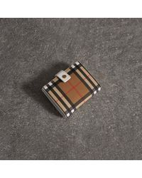 Burberry - Small Vintage Check And Leather Folding Wallet - Lyst