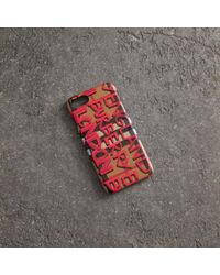 Burberry - Graffiti Vintage Check Leather Iphone 8 Case - Lyst