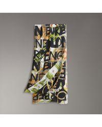 Burberry - Graffiti Archive Scarf Print Wool Silk Cashmere Scarf - Lyst