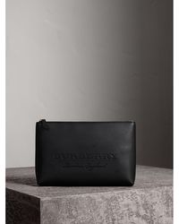 Burberry - Large Embossed Leather Zip Pouch - Lyst