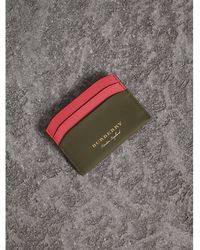 Burberry - Two-tone Trench Leather Card Case Mss Green/ Blsm Pink - Lyst