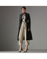Burberry - Crested Button Wool Tailored Coat - Lyst