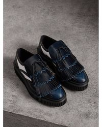 Burberry - Two-tone Lace-up Kiltie Fringe Leather Shoes - Lyst