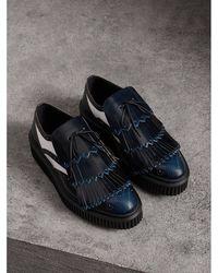 Tri-tone Kiltie Fringe Leather Loafers - Blue Burberry f4v7G1L