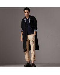 Burberry - Tartan Trim Cotton Piqué Polo Shirt - Lyst