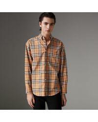 Burberry - Button-down Collar Vintage Check Cotton Shirt - Lyst