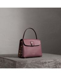 Burberry - Small Grainy Leather And House Check Tote Bag - Lyst