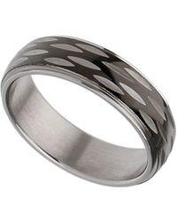 Burton - Black And Silver Slice Ring - Lyst