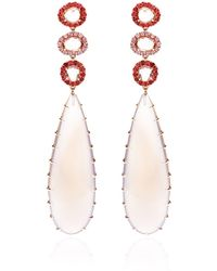 Shawn Ames - Signature Long Pear Earrings with Gray Chalcedony Rosecut Pink Sapphires and Round Brilliant Pink and Red Sapphires - Lyst