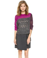 Nanette Lepore Pointelle Patch Crew Sweater  Charcoal Multi - Lyst