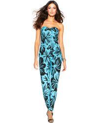 Michael Kors Michael Strapless Floral-Print Jumpsuit - Lyst