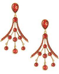 Oscar de la Renta Crystal Fan Drop Earrings - Lyst