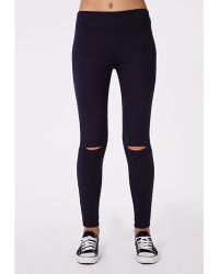 Missguided Alissia Ripped Knee Ponte Leggings Navy - Lyst