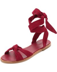 Zimmermann Ankle Tie Flat Sandals - Nude red - Lyst