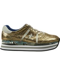 Premiata Shoes Beth Sneakers Bottom Or Sole Or (Zip Al Fondo) Ankle Zip Wedge 4Cm Pele Laminated Effetto Snake - Lyst
