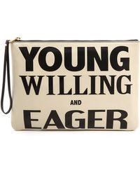 Karen Walker Young Willing Eager Clutch Creamblack - Lyst