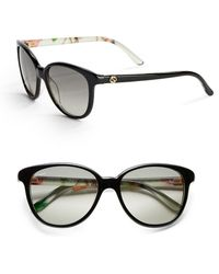 Gucci Floral 55Mm Round Sunglasses black - Lyst